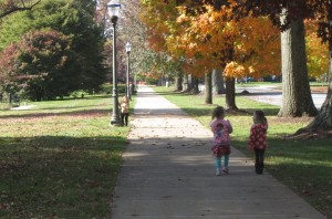 Walking the campus in the fall