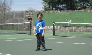 Playing on the tennis courts